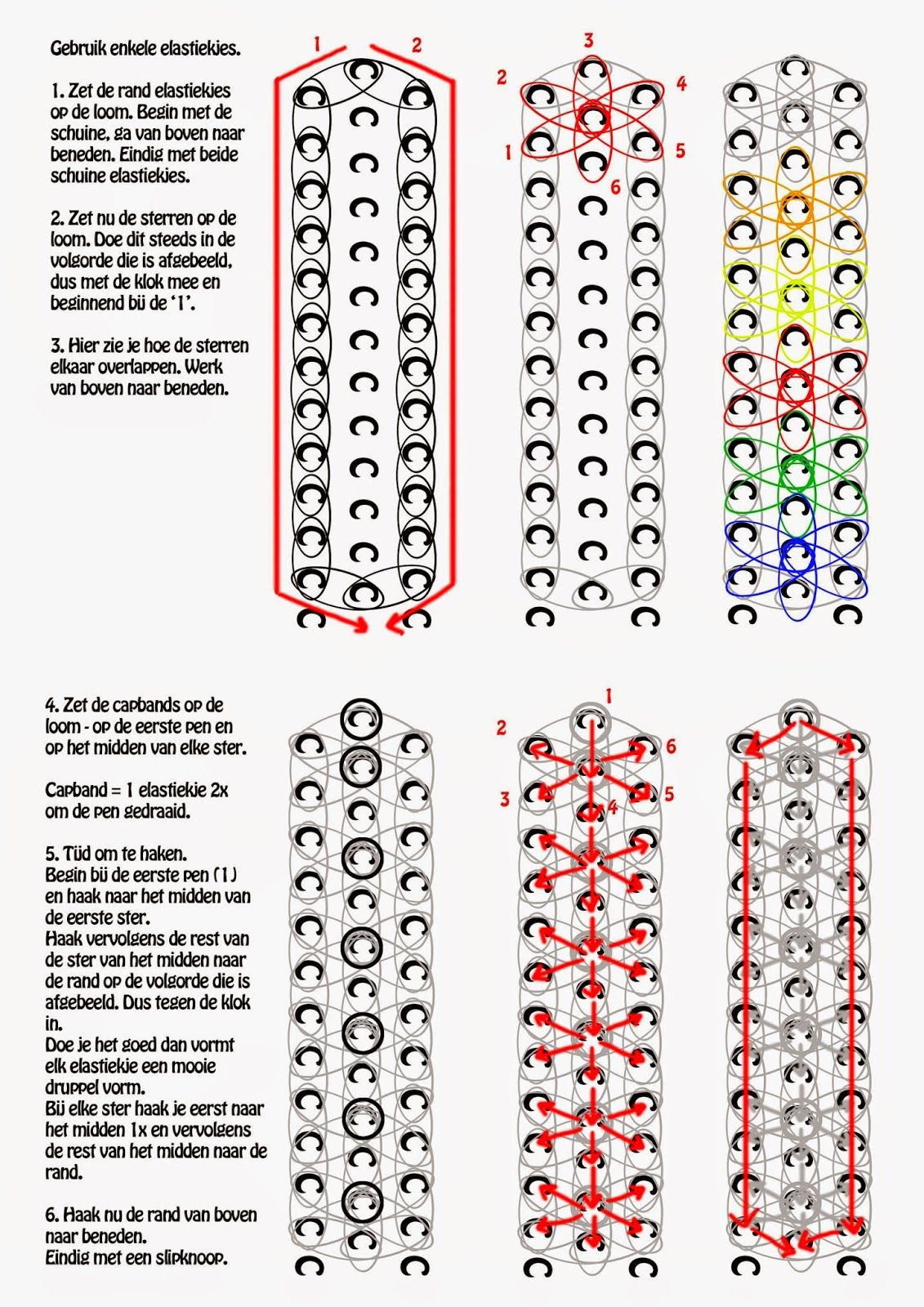 kopje thee a rainbow loom pdf instructies starburst armband rh pinterest com Zipline Rainbow Loom Bracelet Rainbow Loom Board