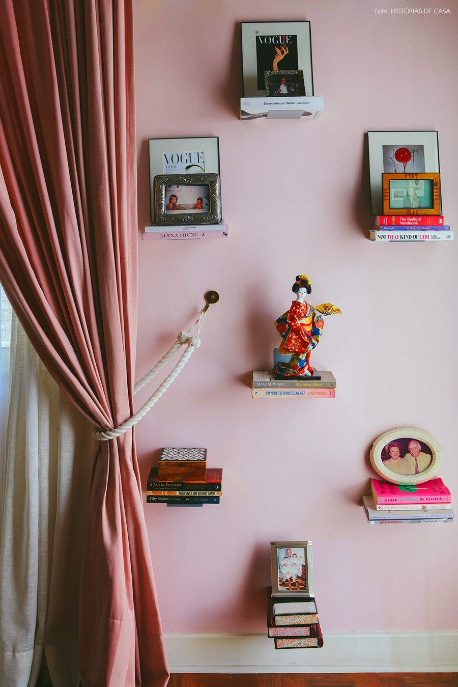 floating shelves + curtains that match the wall