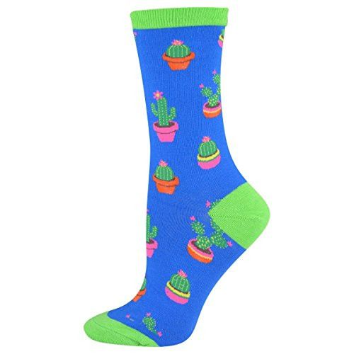 These socks feature brightly colored cacti. They are women's socks best intended for women's U.S. shoe sizes 5 - 10.5. Final Sale: This item cannot be returned or exchanged. - 63% Cotton, 34% Nylon, 3