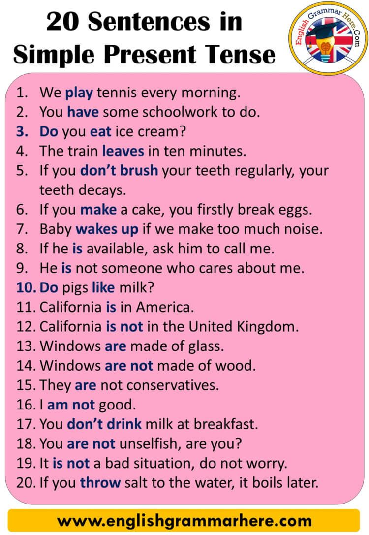 English Tenses Sentences Examples, 20 sentences in simple present tense  When we use the English language, … in 2020 | Simple present tense, Tenses,  Learn english vocabulary