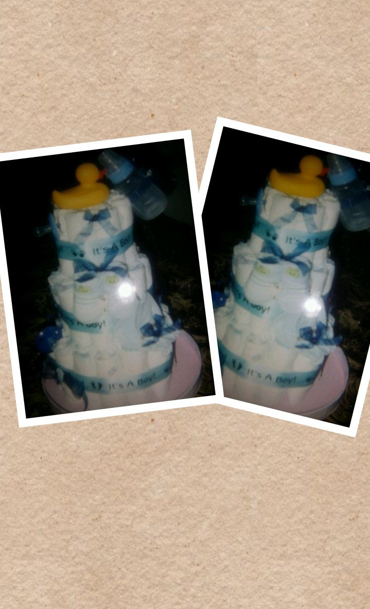 Baby Boy Diaper Cake by FrediaCreations on Etsy, $35.00
