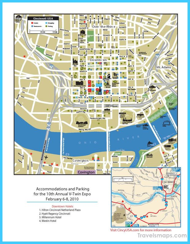 cool Map of Cincinnati Ohio   Travelsmaps in 2019   Cincinnati map Cincinnati Downtown Hotels Map on