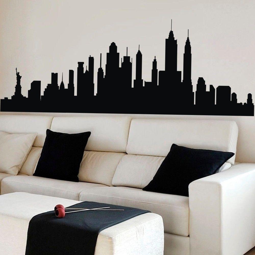 Black And White Minimalist New York City Skyline New York Art New York Canvas Skyline Painting