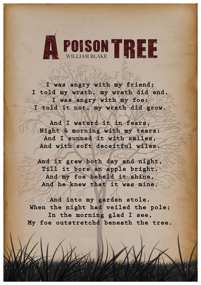 William Blake A Poison Tree William Blake Poem Wall by Redpostbox ...