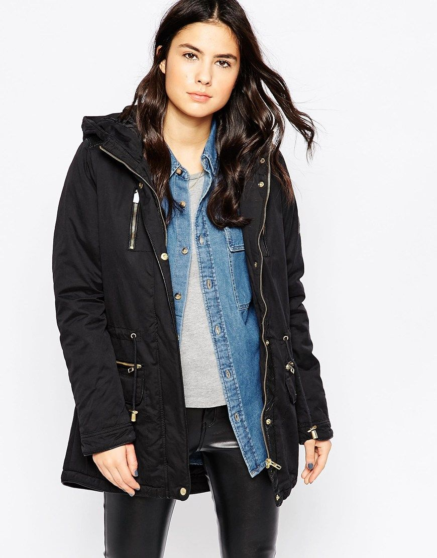 Only Hooded Parka Jacket With Contrast Buttons Coats for