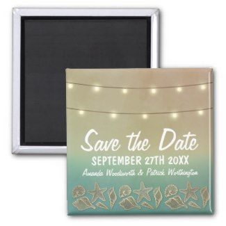 Tropical Starfish Beach Seashell Wedding Save the Date Magnets