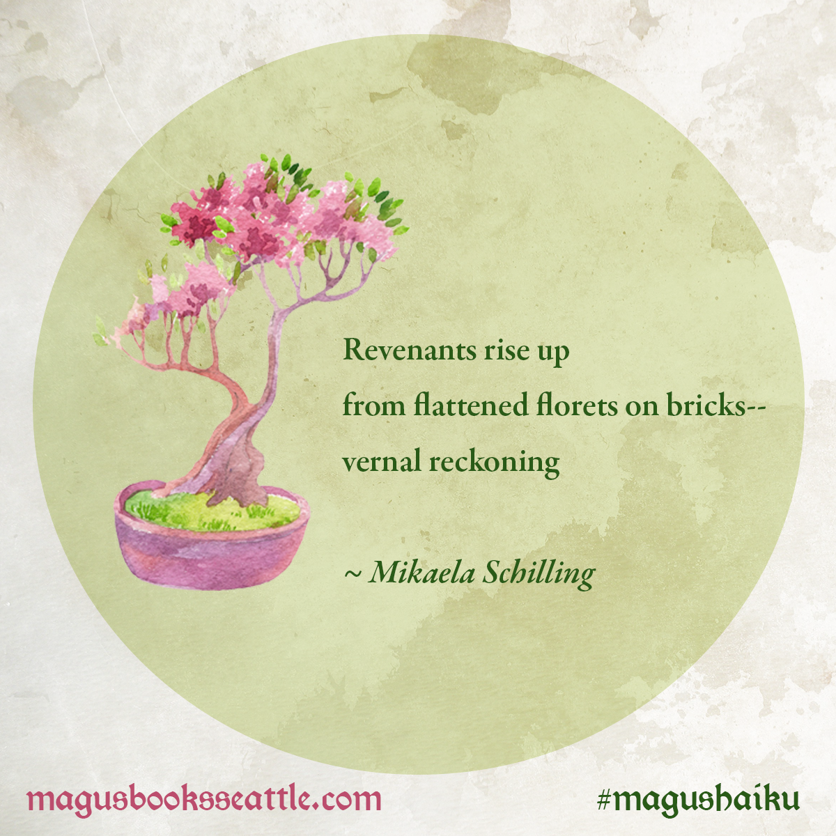 Finalist #3 in our Magus Haiku contest  Revenants rise up from flattened florets on bricks-- vernal reckoning  ~ Mikaela Schilling  #MagusHaiku #haiku #NationalPoetryMonth