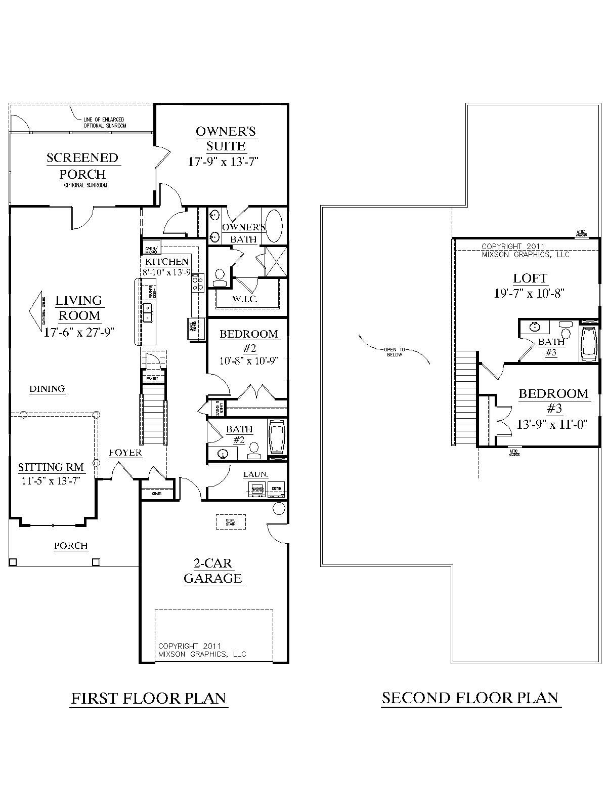 Master Bedroom Upstairs Floor Plans house plan 2344 arcadia floor plan - traditional 1-1/2-story house