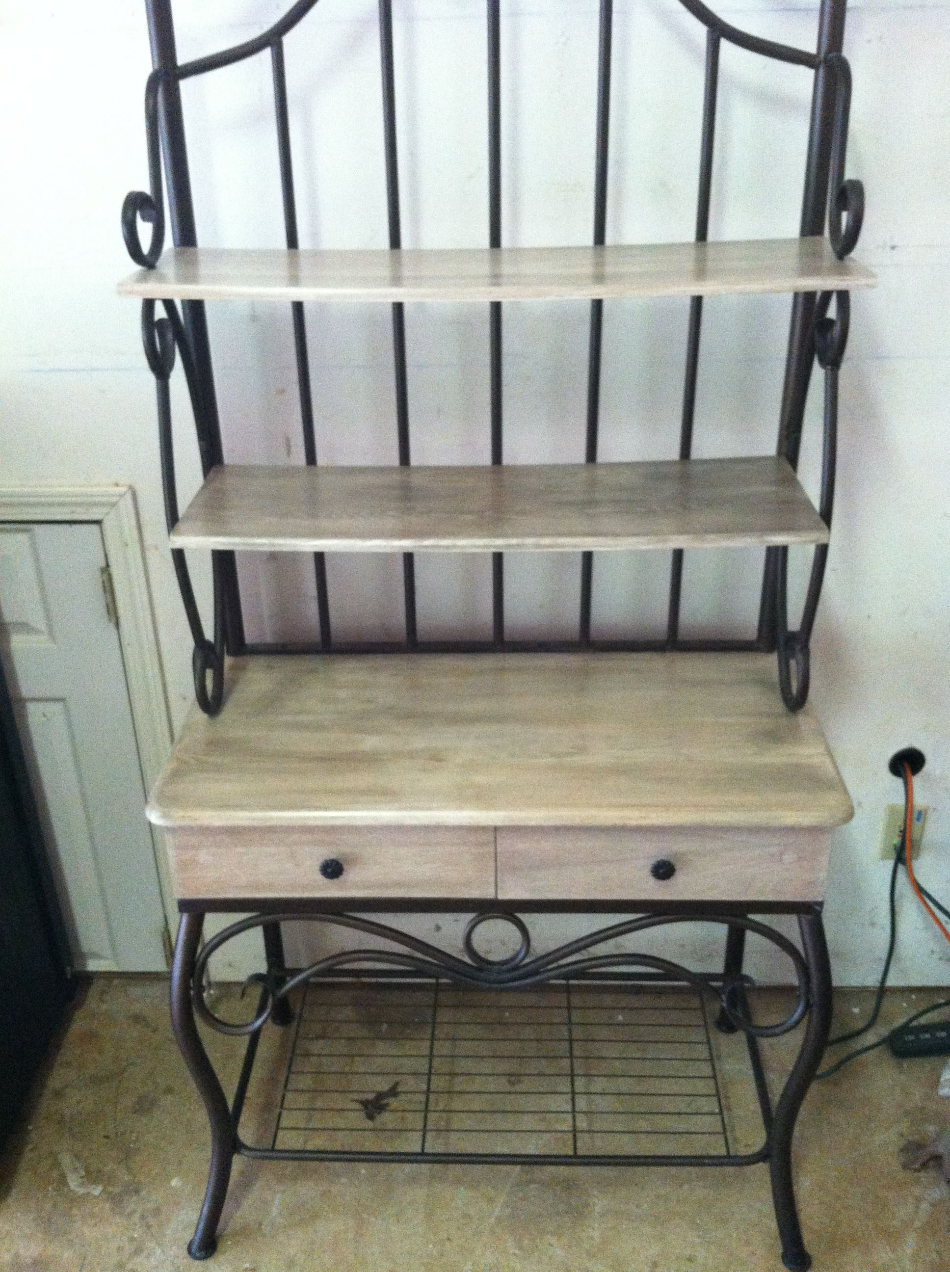 Modern Day Bakers Rack I Refinished With A Pickled Whitewash On