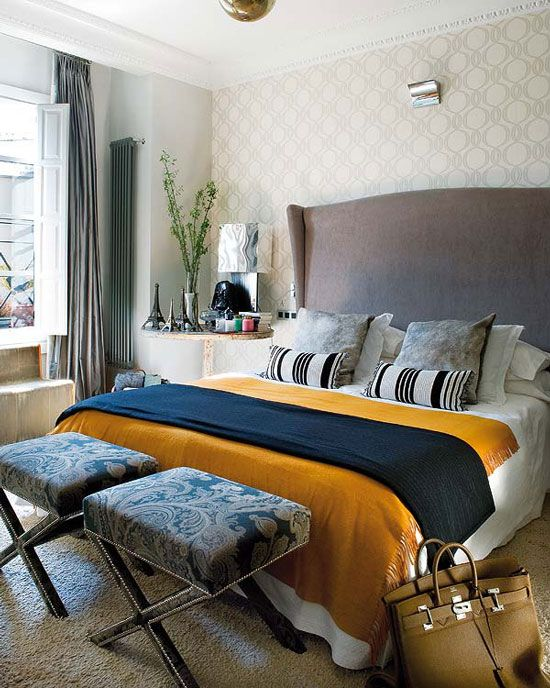 gray headboard with mustard and navy accents desire to