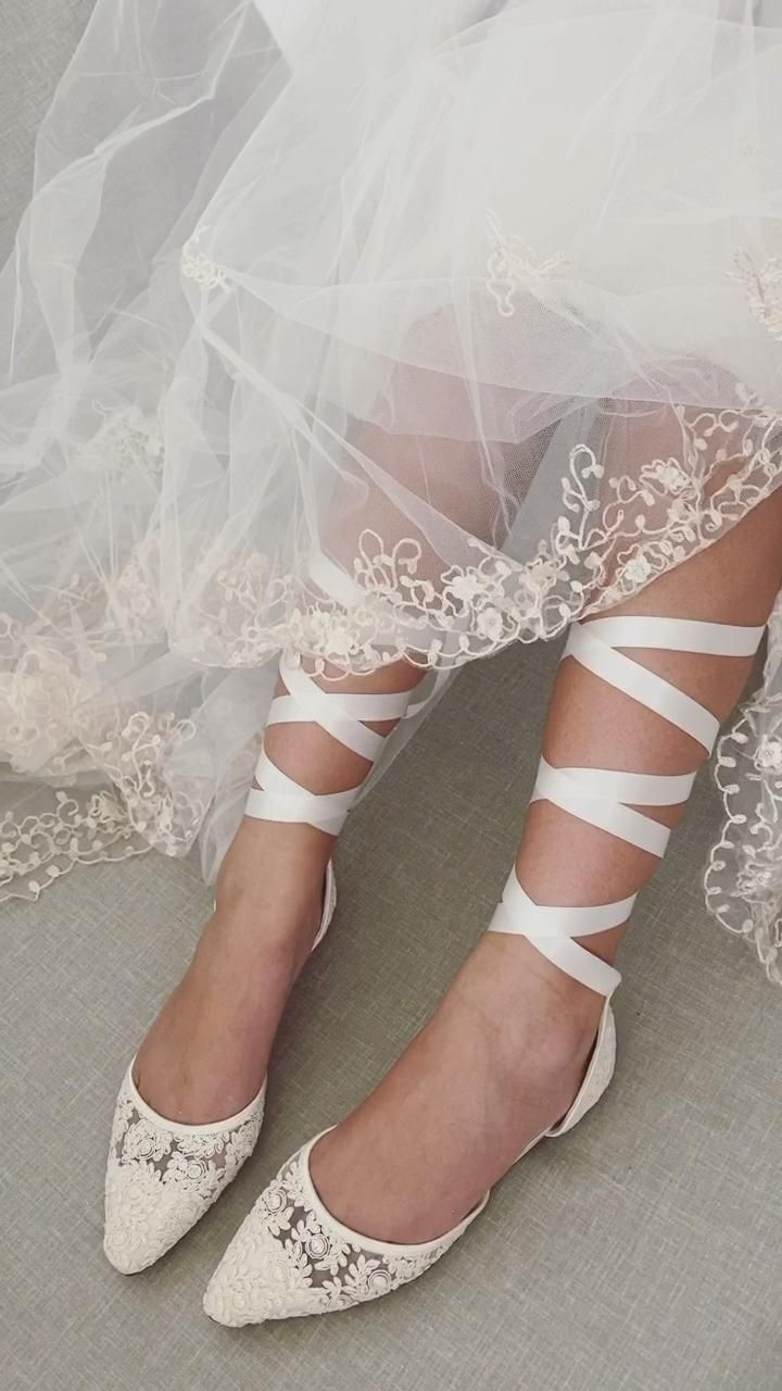 IVORY CROCHET LACE Pointy Toe with Sheer Organza B