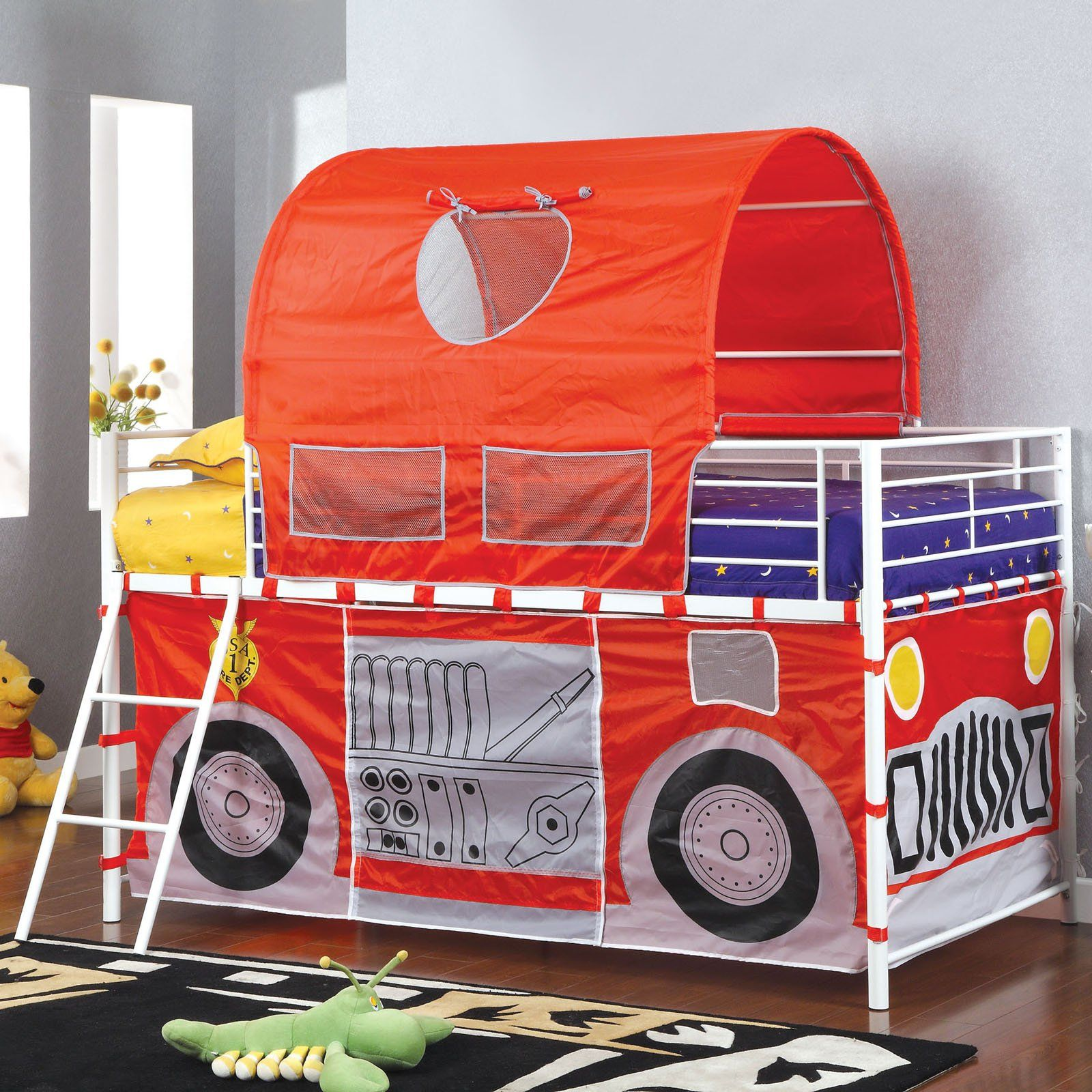 Tanner Fire Truck Inspired Twin Loft Bed with Red Tent