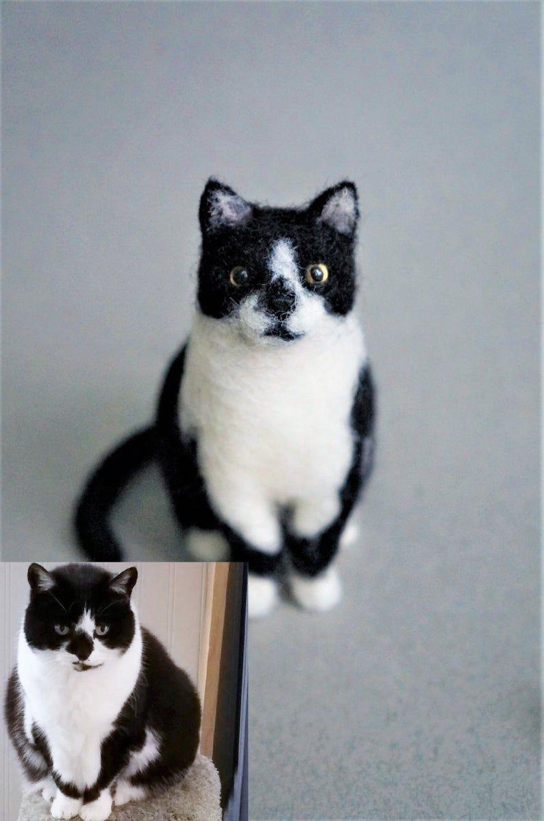 Custommade Cat Portrait Replica Sculpture Needle Felted