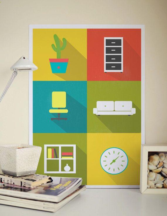Büro - süße Kunstdruck - niedliche Comic Poster - coole Grafik Print - kühlen Wänden Plakatkunst - Arbeitsplatz drucken