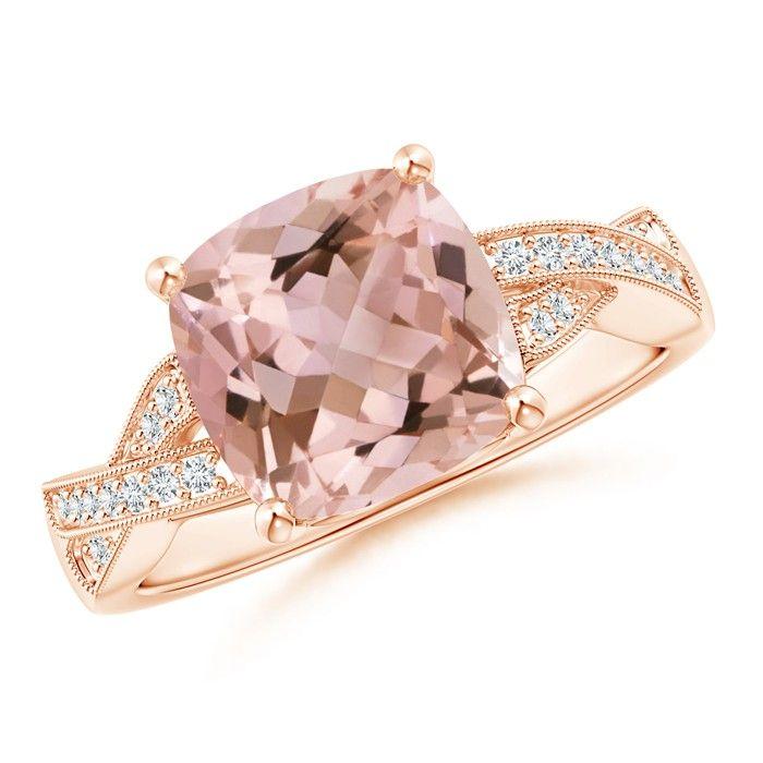 Angara Morganite Ring - Cushion Morganite Cocktail Ring with Diamond Halo DaI8SN8WH
