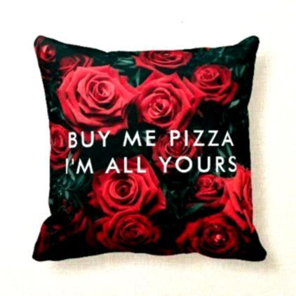 Valentines Day Buy Me Pizza Red Roses Throw Pillow   Funny Valentines Day Buy Me Pizza Red Roses Throw Pillow  valentines day gifts gift idea diy Funny Valentines Day Buy...