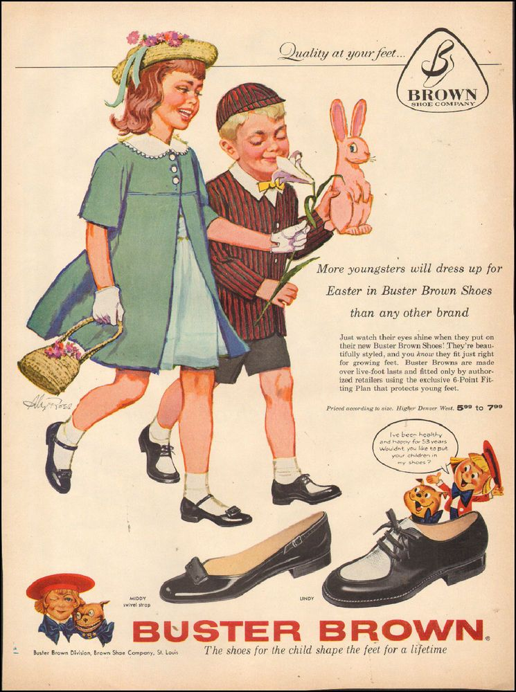 Vintage Ad For Buster Brown Shoes Art Easter Dress Bunny Pink Art 062517 Pink Art Vintage Ads Buster Brown