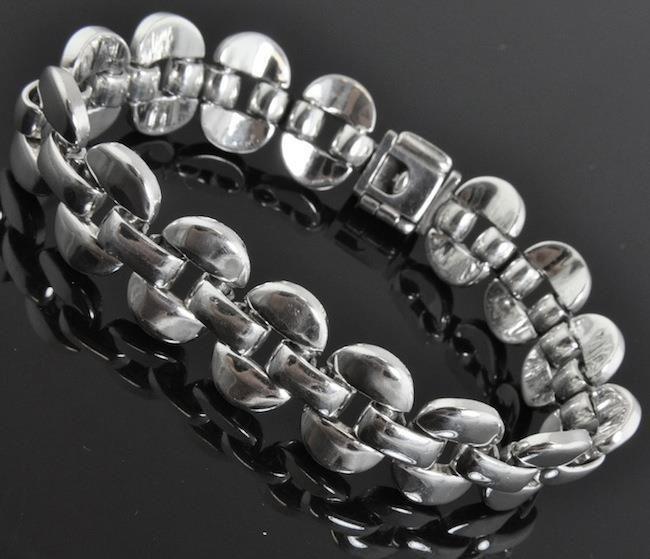 VIntage 950 Silver Wide Link Bracelet