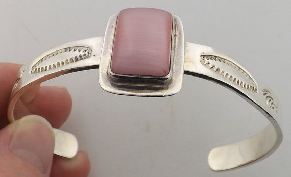 Sterling Silver Rose Quartz Cuff Bracelet Signed by TaxcoSilver