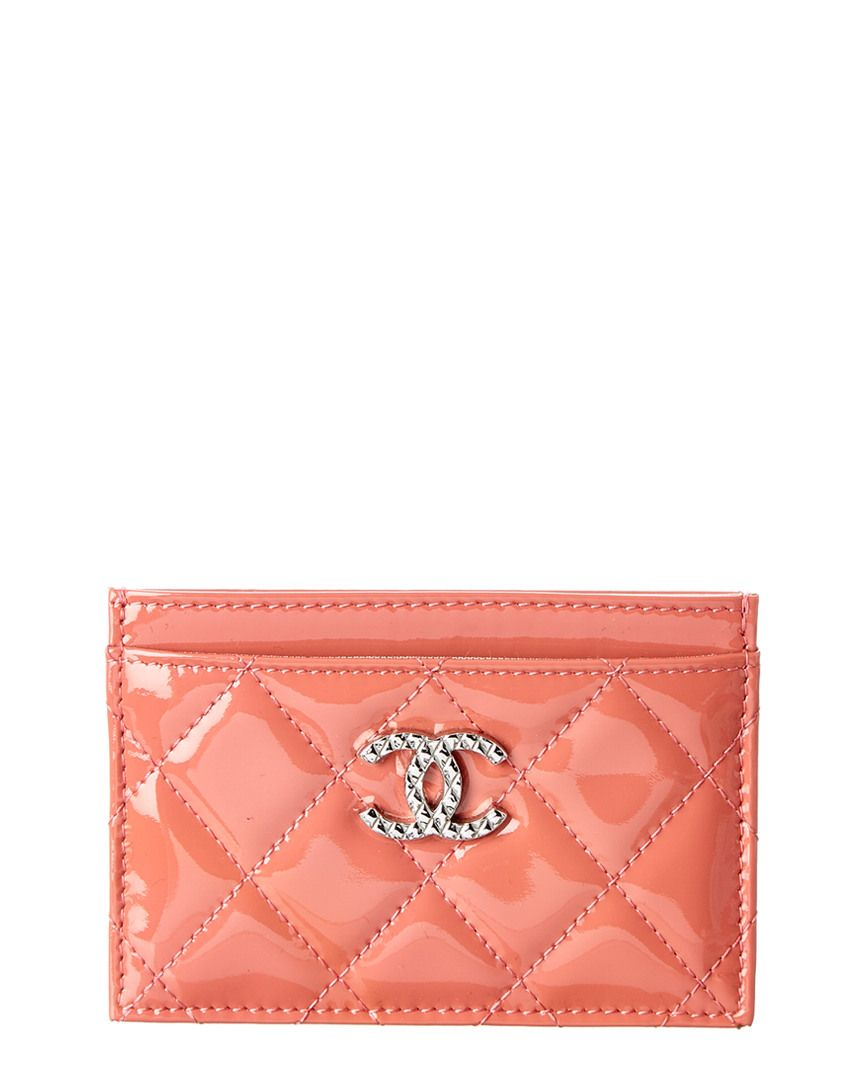 Chanel salmon pink quilted patent card case with images