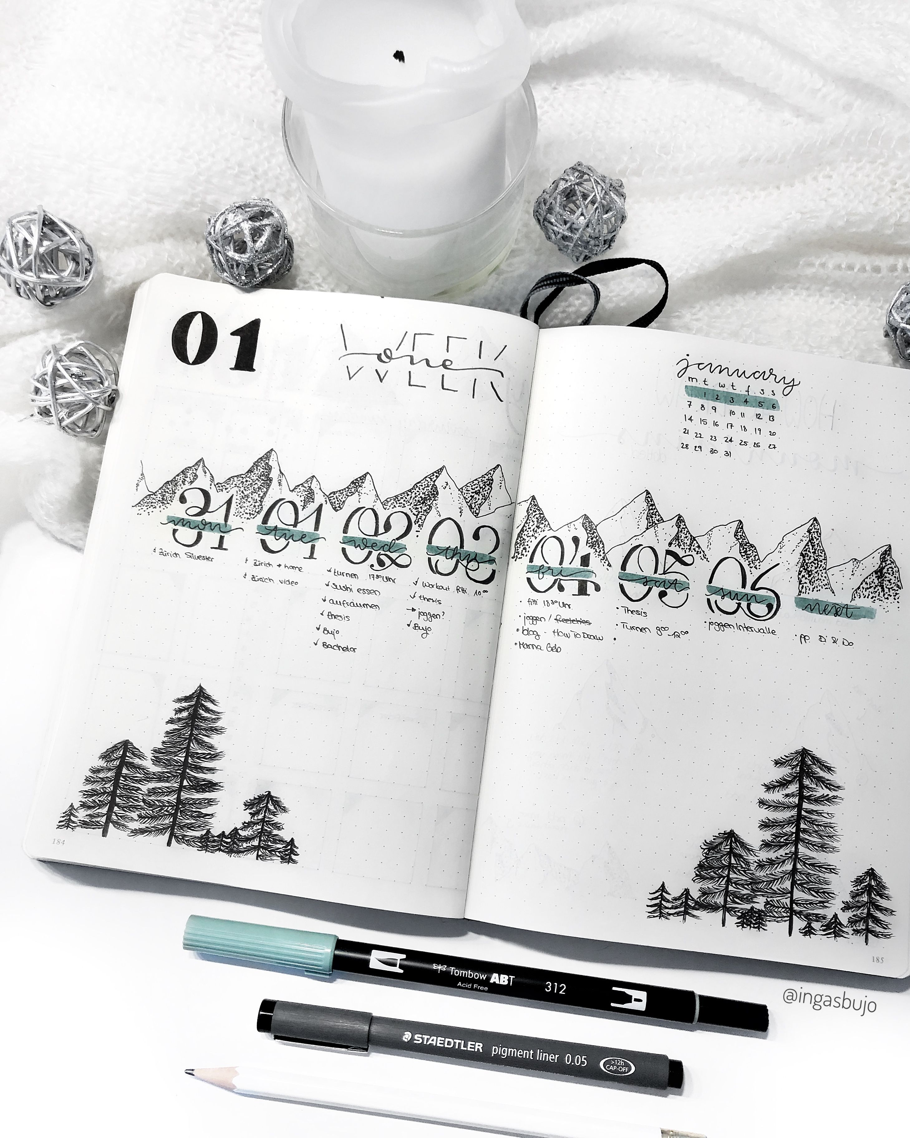 Learn how to draw mountains and pine trees with my step-by-step tutorial. Mountain and pine trees bujo weekly spread. For January I use my mountain theme. First week of January, January weekly spread, bujo mountain theme #bulletjournal #bulletjournalweekly #weeklyspread #bujoweeklyspread #bujoweekly #bujojanuary #bujo2019 #bujomountaindrawing #mountaindrawings #howtodraw #octoberbulletjournal