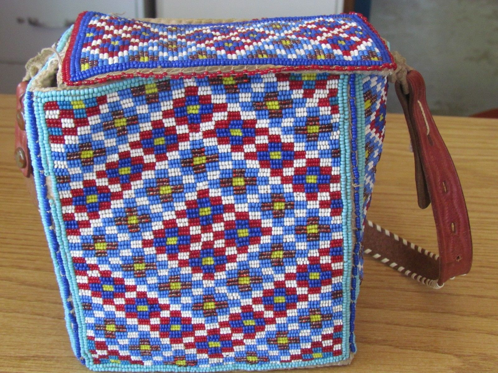 Native american beaded full beaded bag with leather strap glorious ...