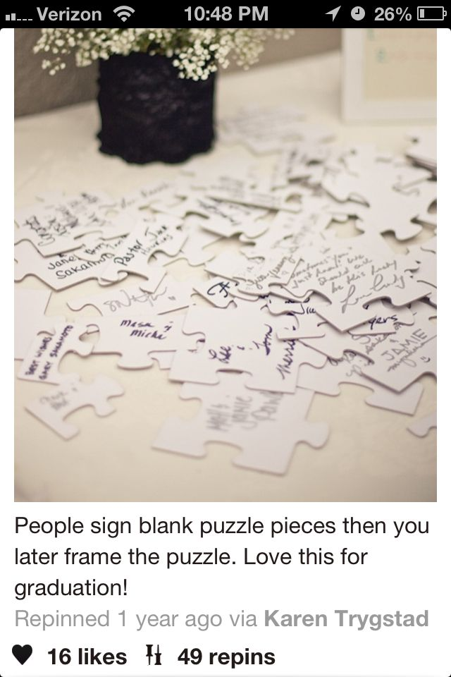 I love this idea, because I love puzzles! It\'s a cute framed idea, a ...