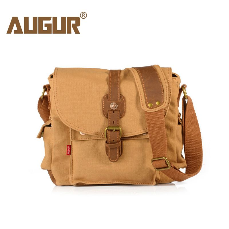 AUGUR Fashion Men s Shoulder Bag Canvas Leather Belt Vintage Military Male  Small Messenger Bag Casual Travel 0b20ef317f5dc