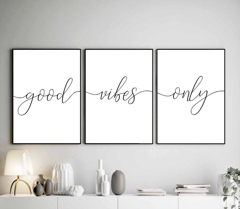 Good Vibes Only Wall Art Set Of 3 Prints Inspirational Etsy Bible Verse Wall Art Bedroom Wall Art Motivational Prints