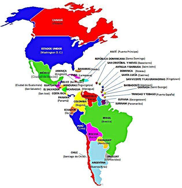 Mapa con los pases y capitales de Amrica  PAISAJES VARIOS