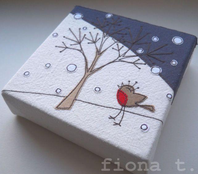 christmas winter robin embroidery