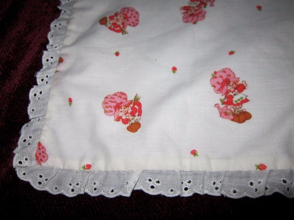 Vintage Strawberry Shortcake Doll Blanket (23 inch x 23 inch) white pink