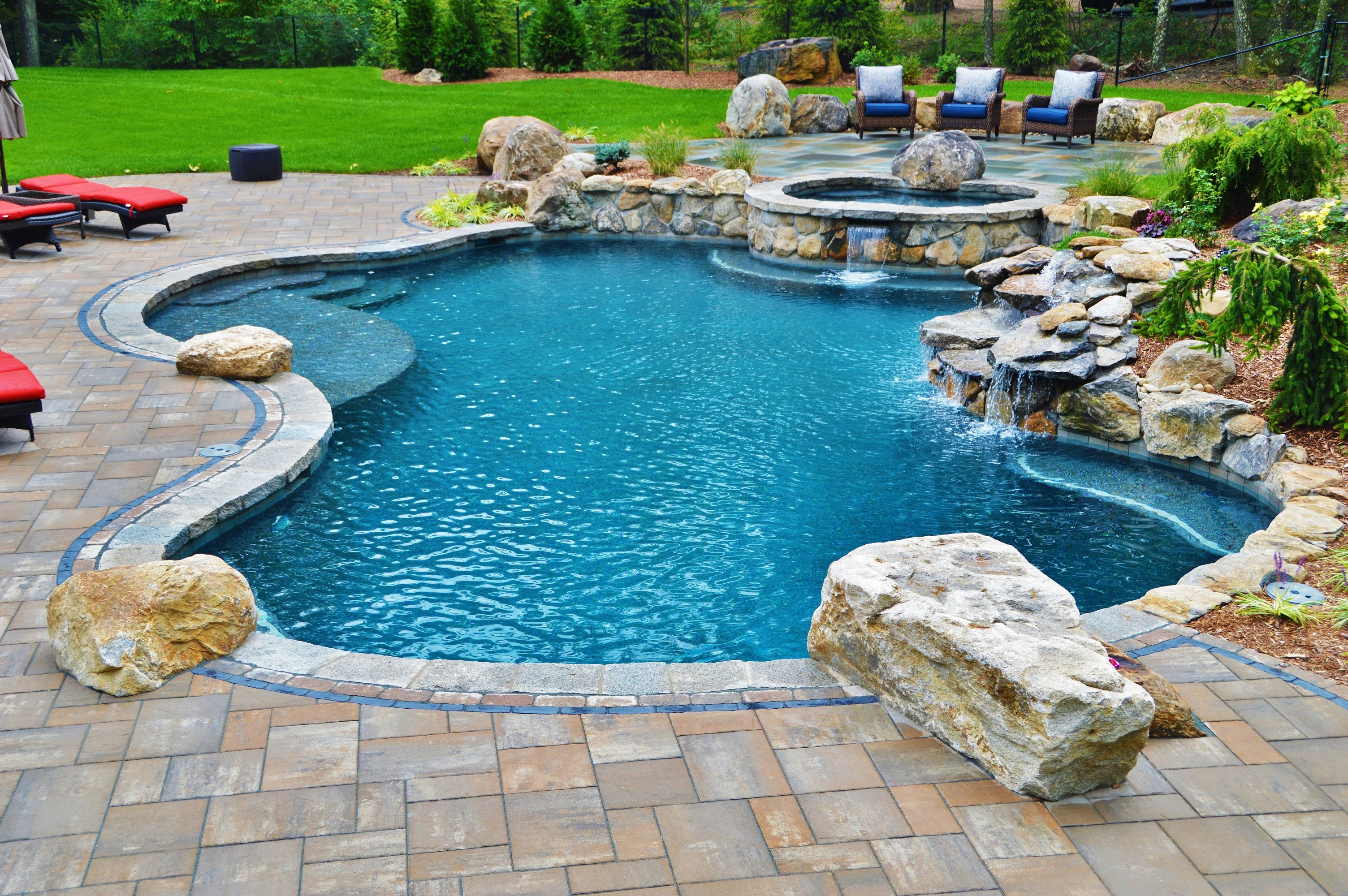 Oversized, And Raised, Custom Spa Large Natural Boulder Waterfall With