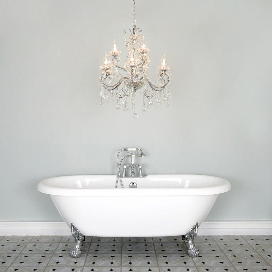 Chandelier And Tub Bathrooms Chandeliers Pinterest - Mini chandelier for bathroom for bathroom decor ideas