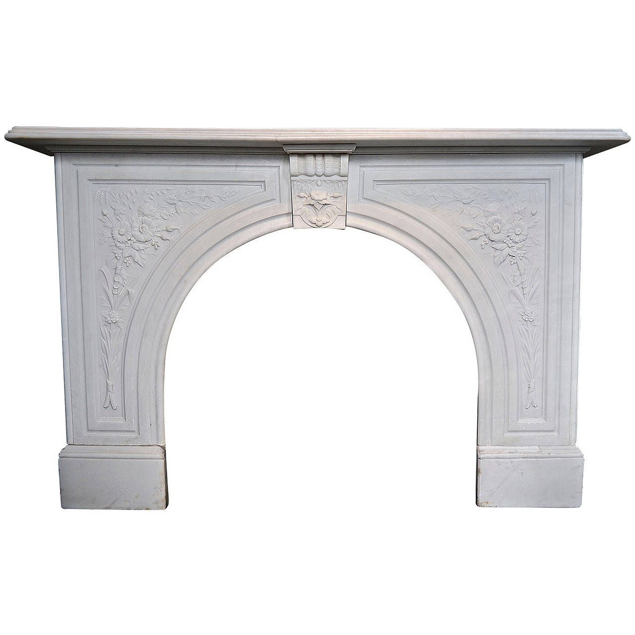 Antique Victorian Carved Arched Marble Surround | From a unique collection of antique and modern fireplaces and mantels at https://www.1stdibs.com/furniture/building-garden/fireplaces-mantels/