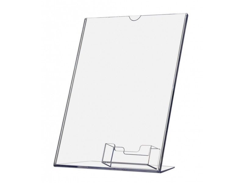 Clear acrylic 11 x 8.5 sign display with vertical business card holder wholesale