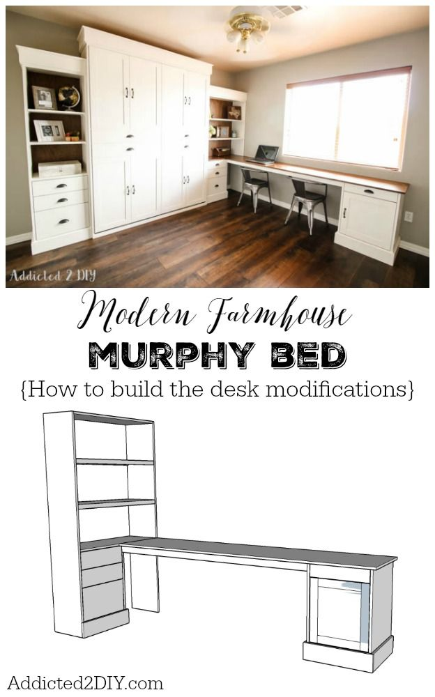 Diy modern farmhouse murphy bed how to build the desk Queen size murphy bed