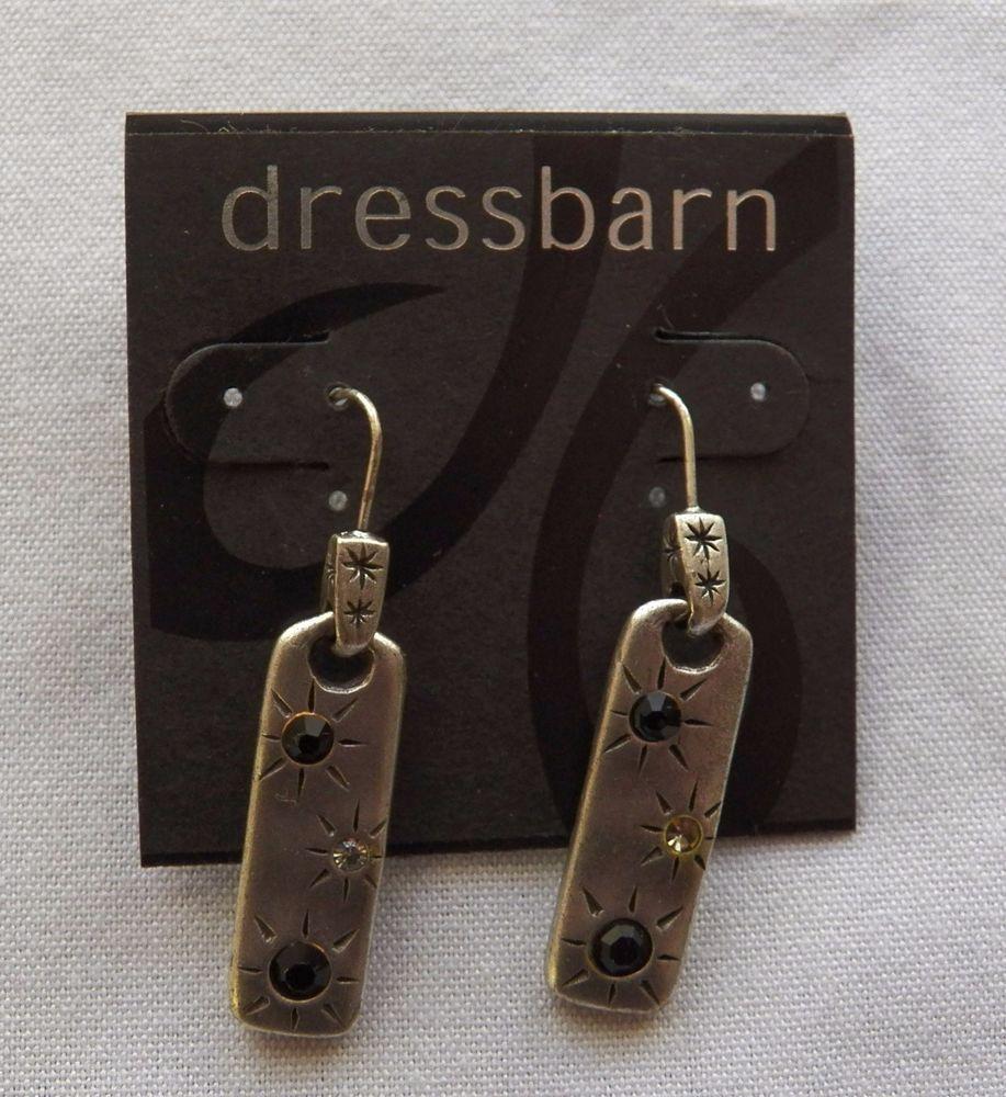 $5.05/free shipping USA - Silvertone Bar Drop Earrings (11616-7 ER) fashion, jewelry #Dressbarn #DropDangle