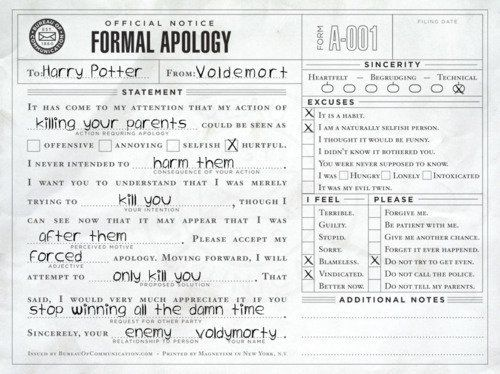 Voldemorts Formal Apology For Killing HarryS Parents  Forever