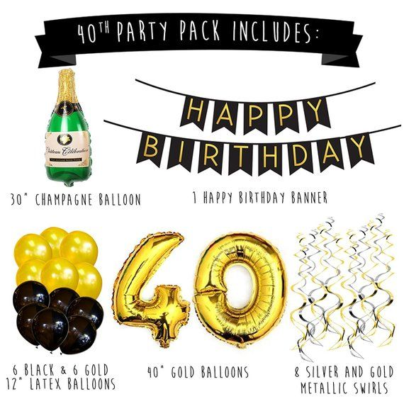 40th Birthday Party Pack Black Gold Happy Birthday Bunting Poms