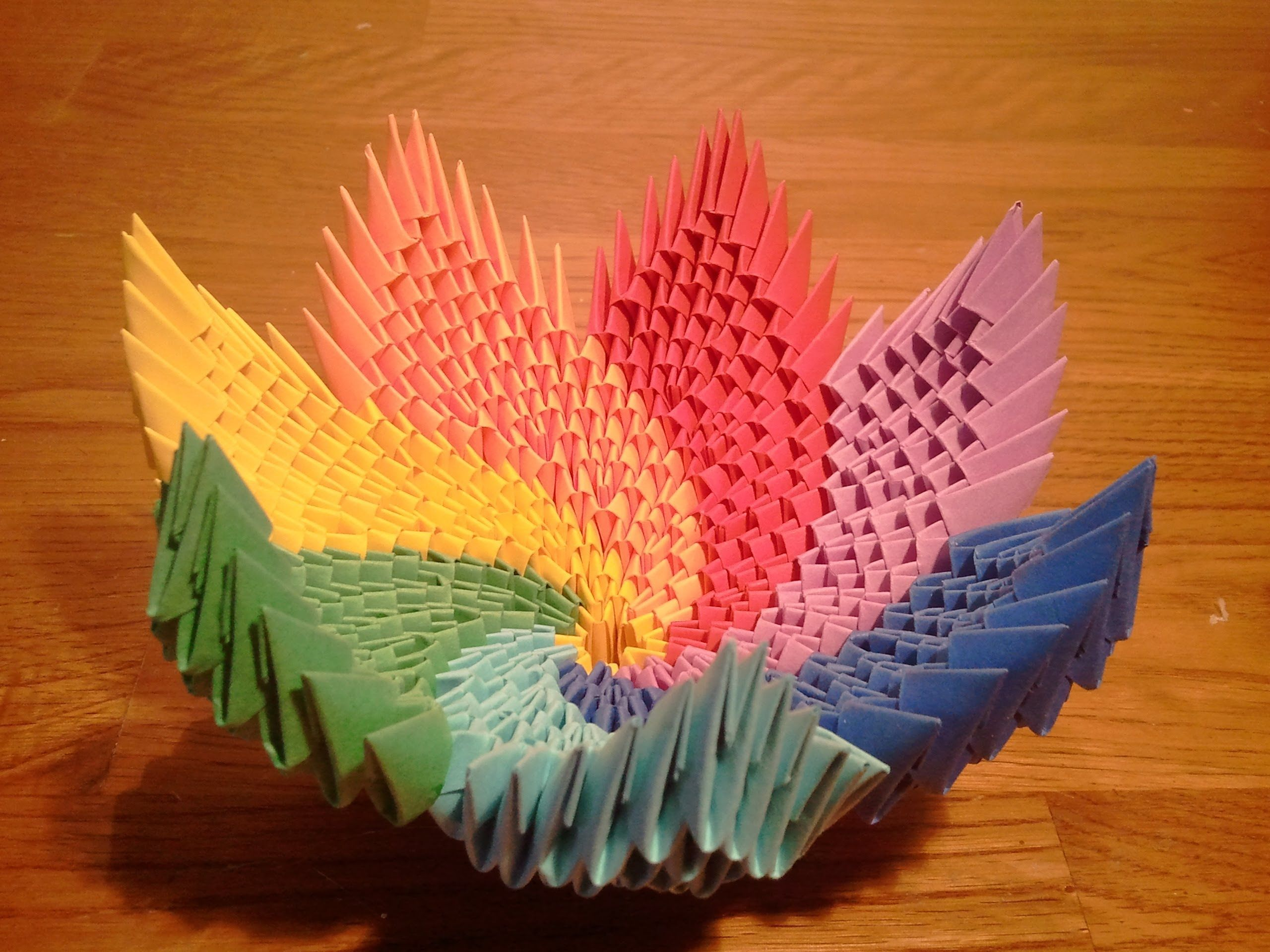 How to make 3d origami Rainbow Spiral Bowl | Origami en 3D ... - photo#19