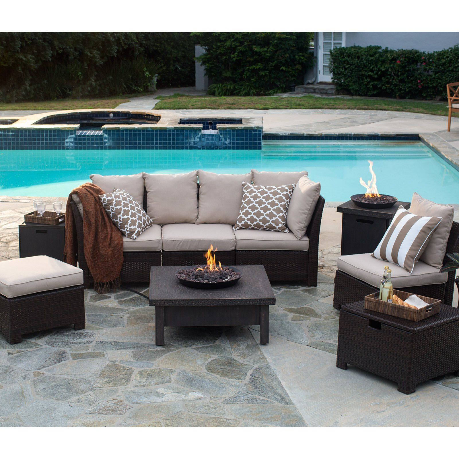 Coral Coast South Isle Dark Brown Sectional Set with