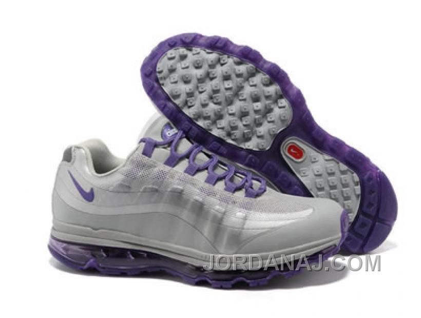 The Nike Air Max 95 BB Womens Running Shoe PurpleSilverWolf Grey  Composition Soft leather Textile fibres
