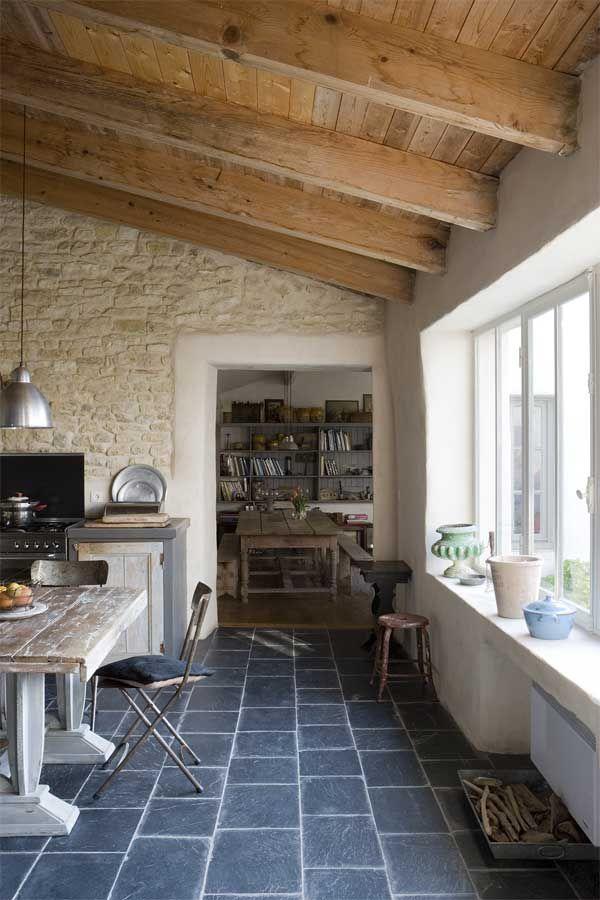 Estilo rustico muros de piedra combinados cocinas - Cocinas estilo rustico ...
