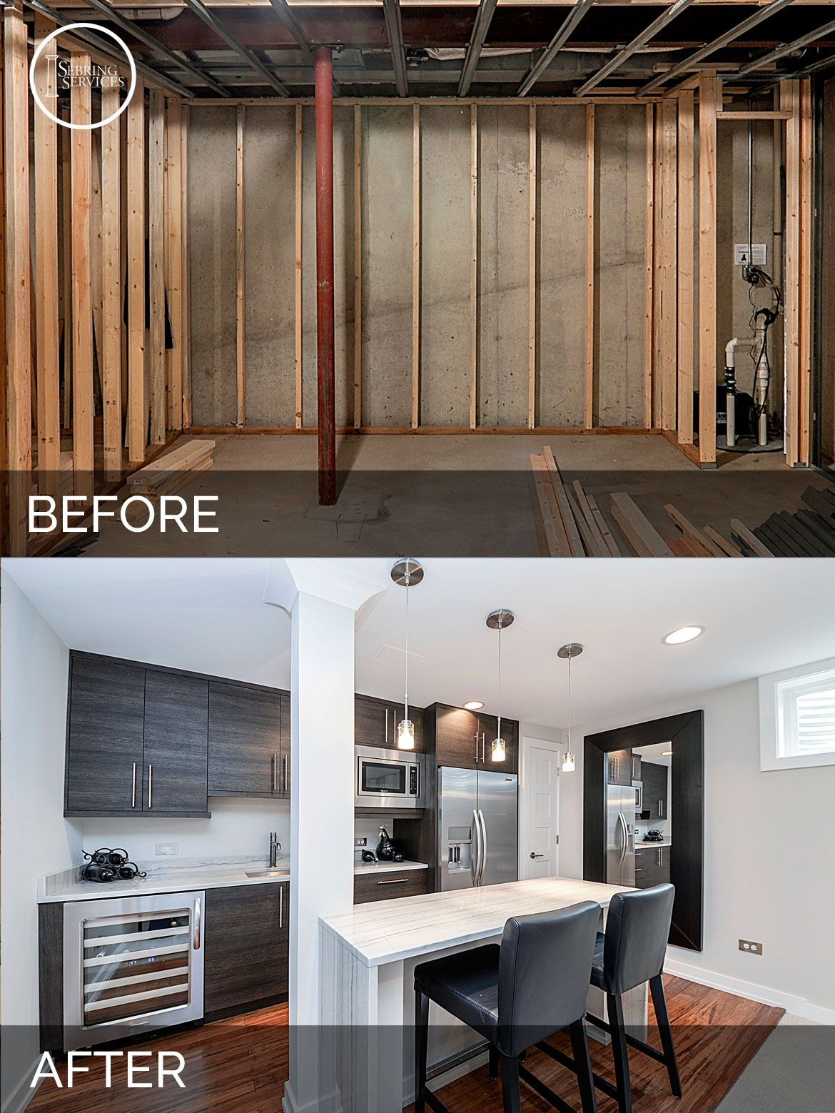 Before And After Diy Kitchen Renovation: Doug & Natalie's Basement Before & After Pictures In 2019