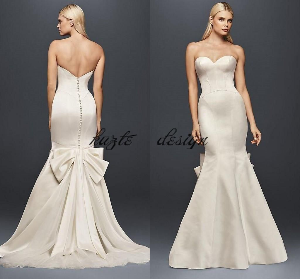 Truly Zac Posen Seamed Satin Wedding Dress With Big Bow Modest Strapless Covered Button Mermaid Fishtail Bridal Gown Wear From Kazte 132 72 Dhgate Com Cheap Lace Wedding Dresses Zac Posen Wedding [ 950 x 1024 Pixel ]