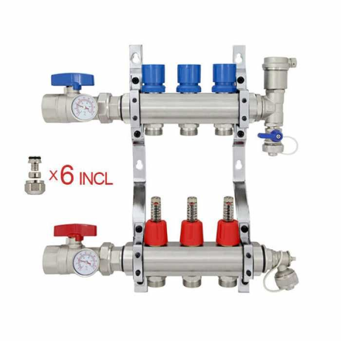 3 Branch Stainless Steel Pex Heating Manifold W 1 2 Pex Adapters Radiant Heating System Radiant Heat Heating Systems