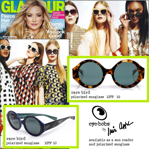 e91590cf6f702 It s an eyebobs double-feature! Our Rare Bird polarized sunglasses appear  twice in the April issue of Glamour magazine!