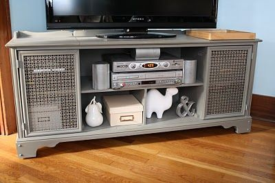 Old Stereo Cabinet Made Into Flat Screen Tv Stand