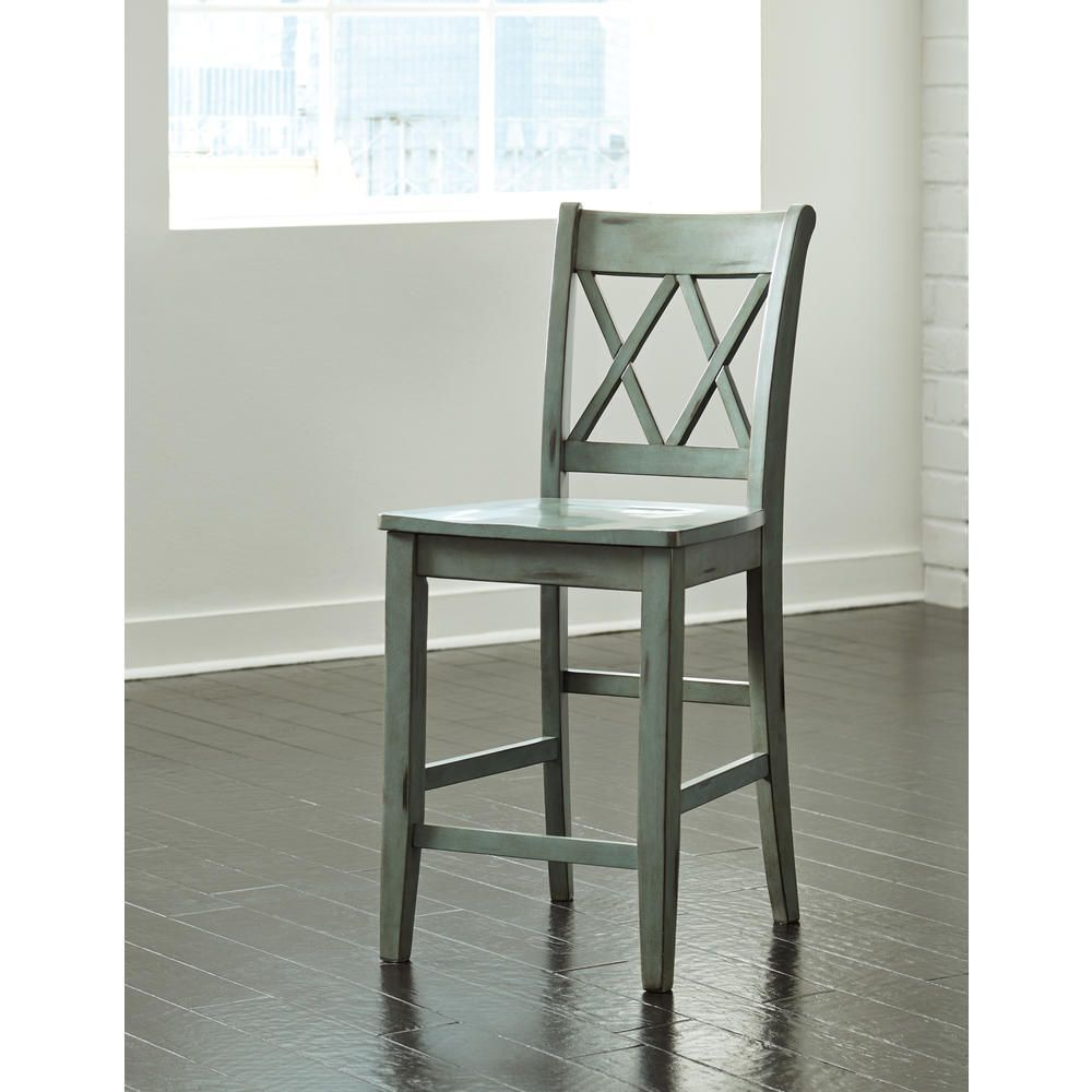 Furnituremaxx mestler blue green color barstool set of 2 home furniture dining room